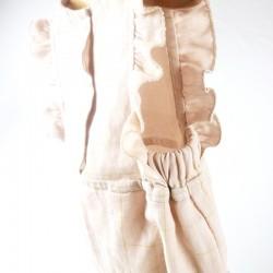 Barboteuse tendance en lange de coton oeko-tex couleur rose à carreaux or 6 mois
