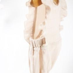 Création Bambio pour fillette, barboteuse en lange de coton rose nude fabrication française