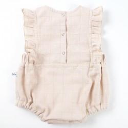 Barboteuse couleur nude à carreaux idée cadeau de naissance fabrication France