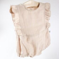 Collection été barboteuse rose beige à volants vêtement bébé romantique