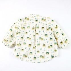 Création originale pour cette chemisette garçon en popeline  coton bio spécial bébé motifs lamas.