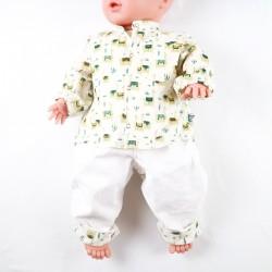 Chemisette bébé création couture  en popeline  certifiée GOTS de fabrication artisanale et soignée, motifs lamas.