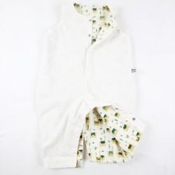 Combinaison velours blanc et imprimé lama, création couture certifié GOTS de fabrication artisanale et soignée.