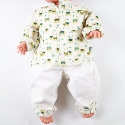 Ensemble combinaison et chemise collection lamas en coton bio, chic et écolo pour un bébé mode.