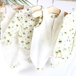 Tissu biologique coton motifs lama GOTS pour fabriquer cette collection artisanale.