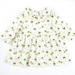 Idée cadeau de naissance pour cette robe motifs lamas en coton organique.