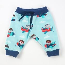 Idée cadeau de naissance petit pantalon avions en jersey organique.