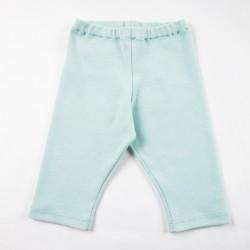 Idée cadeau de naissance pour le petit legging bleu menthe en jersey de coton organique.