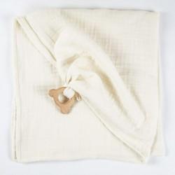 Carré de lange façon doudou en coton biologique avec son ourson en bois, une fabrication française.