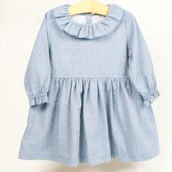 Robe plumetis mode vintage, vêtement bébé coton biologique.