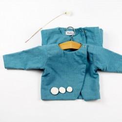 idée cadeau de naissance pour cette blouse bébé chambray bio