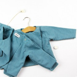 Tissu biologique pour ce vêtement turquoise fabriqué en France.