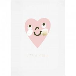 Carte félicitations pour une naissance coeur rose et doré