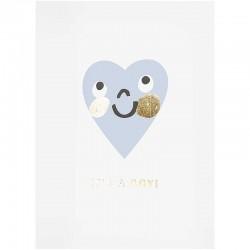 Carte félicitations pour une naissance coeur bleu