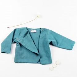 Haut création couture bébé en chambray bio, fabrication artisanale.