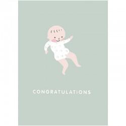 Carte félicitations pour une naissance bébé sur fond vert amande