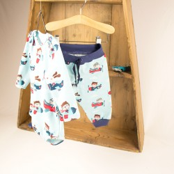 Création bio le body avions, avec le petit jogging assorti pour une tenue bébé parfaite !