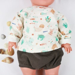 Tenue bébé 6 mois avec le tee-shirt océan en coton imprimé bio, manches longues, idéal pour l'été.