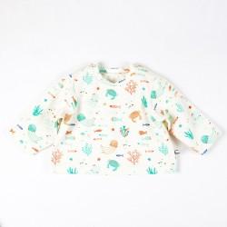 Tee-shirt océan pour bébé, une création artisanale en coton biologique.