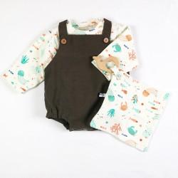 Tenue pour bébé spécial été motifs fond de mer et animaux rigolos en coton organique.