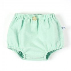 Culotte cache-couche garçon à bouton en coton certifié bio coloris menthe, fabrication France.