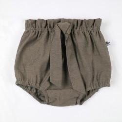 Culotte bébé ruban à nouer marron, une idée cadeau de naissance originale.
