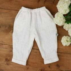 Pantalon blanc Milo en coton biologique certifié GOTS fabriqué en France.