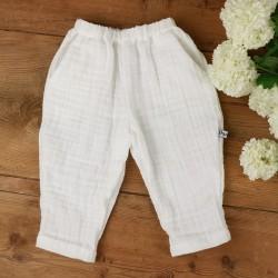 Le pantalon mixte Milo coloris blanc en coton organique, une idée cadeau de naissance !