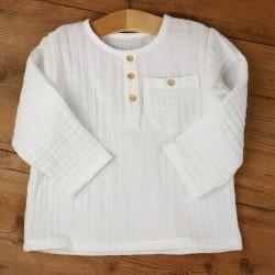 Chemise bébé Mila en coton organique blanc fabriquée en France.