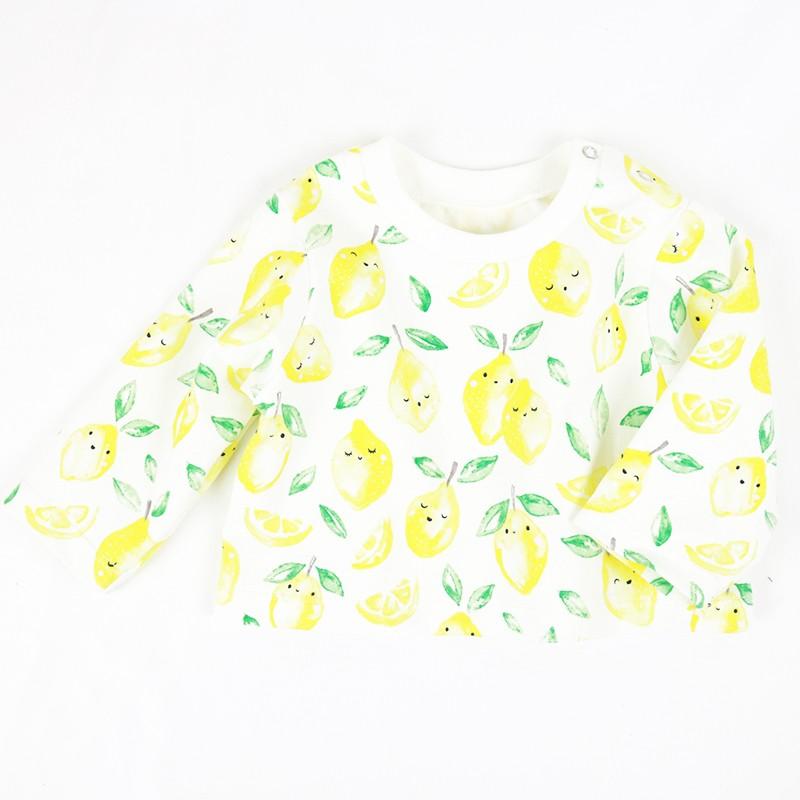 Tee-shirt bébé maille jersey organique création Bambio motif citrons.