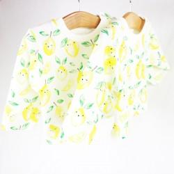 Haut mixte motif citrons création artisanale tissu organique.