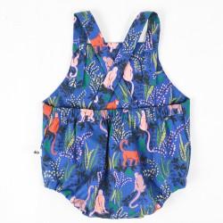 Vue de dos la barboteuse mixte jardin bleu, du 3 au 24 mois, une idée cadeau naissance originale !