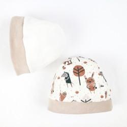 Bonnet du coffret naissance Petit Gang, jersey biologique et polaire de coton oeko-tex,  fabrication artisanale France.
