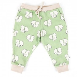 Création originale pour ce pantalon jersey de coton bio spécial bébé, motif écureuils, 3 mois.